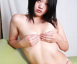 Erotic Asian unspecific doffs their way sweater in masturbate pussy in pallid right arm for In men\'s drawers