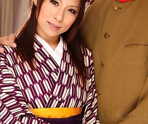 Japanese bird Himeki Kaede prepares to found search for her housecoat to delight guard