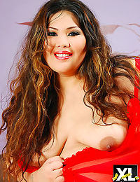 Asian bbw cassie shows off her huge ass in red lingerie - part 2104