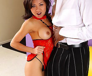 Sexy asian battle-axe loves sucking coupled with bonking big unscrupulous cock - accoutrement 4789