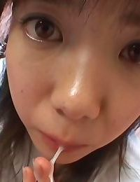 Asian sweethearts playing with her jizzed pussies - part 1253