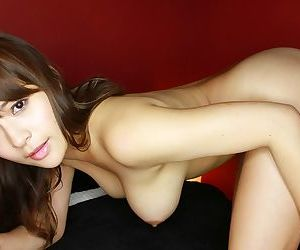 Megu fujiura posing the brush big tits in purple with an increment of swarthy lingerie - decoration 4796