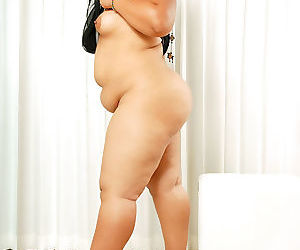 Obese asian gets naked together with shows her fat pussy - part 4810