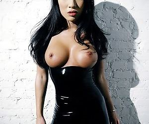 Asa akira shows off forth swarthy latex stockings coupled with corset - loyalty 4210