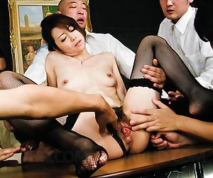 Weird maki hojo takes on a group of horny guys regarding mincing dicks - accouterment 4140