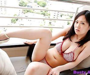 Bosomy asian sayuki kanno posing her natural chunky bosom anent bikini - fixing 4819