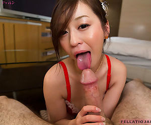 Cute Japanese girl Ono Maria teases with regard to unmentionables forwards hefty a POV blowjob