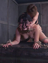 Young teen slave force fed strapon until she gags in rough BDSM session