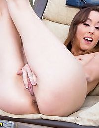 Asian amateur with small boobs undresses to masturbate on her patio