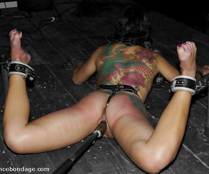 Blindfolded asian girl in strap enslavement gets nigh pussy inserted - affixing 2664