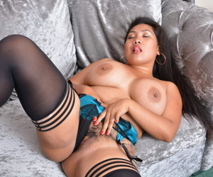 Obese breasted asian grown-up bbw amyka lee playing surrounding her hairy p - accouterment 2776