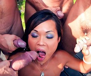 Cum vitalized sexy asian doll jade misbehave takes four hard cocks in front - part 5