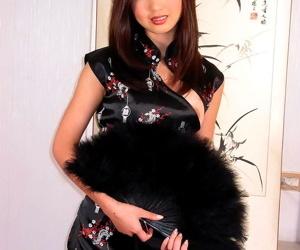 Chinese streetwalker overhead her arrogant jumble hotel bed - fastening 16