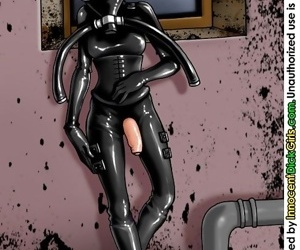 School girl costume till the black latex catsuit covering her entire body - part 2572