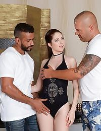 Brunette rebecca volpetti gets double fucked by two big dicks - part 300