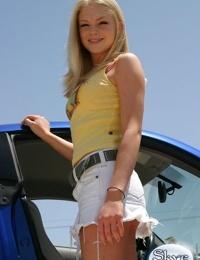 Delicious teen Skye wearing sexy white short jean skirt