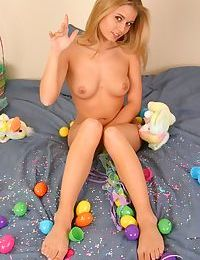 Cute teen girl Jannah Burnham strips to thong underwear for Easter