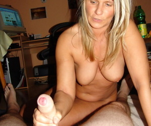 Chubby blonde gets naked before a POV handjob and riding an uncut cock