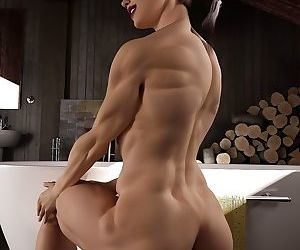 Nice female bodybuilder poses nude before taking a bath - part 4