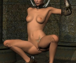 Amazing body warrior masturbation with axe - part 2
