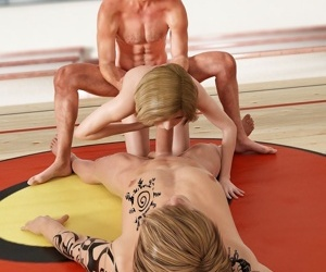 Amazing babe gets fucked hard by two guys in gym - part 15