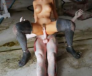 Busty redhead babe gets facial from undead dick - part 4