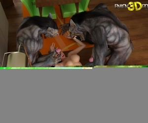 Dirty slut gets fucked by two big werewolves dick - part 3