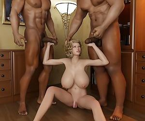 Amazing hot shemale with huge boobs and two black guys - part 6