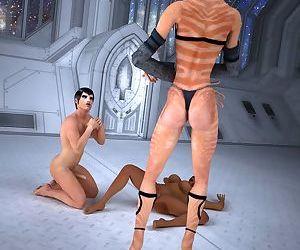 Two future space explorers fuck alien goddess - part 13