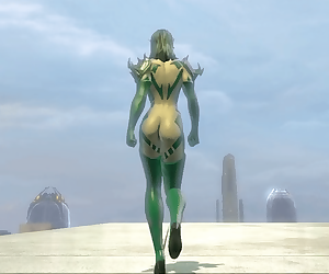 3d animated ass bodysuit boots buildings cg city clouds dc_comics dc_universe_online dcuo game gfycat gif gloves green_bodysuit green_boots green_gloves green_hair green_latex green_spandex green_suit green_tights high_heels latex metropolis skyscrapers s
