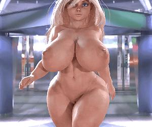 Busty blonde 3d walking