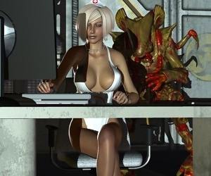 Horny blonde 3d nurse getting fucked by an alien with long cock - part 765