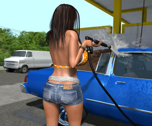 Hot 3d brunette with extra large tits posing nude on a car hood - part 548