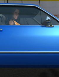 Hot 3d babe at public carwash flashing big tits - part 373