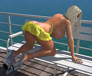 Sexy 3d bikini blonde hottie shows her large boobs on the pier - part 427