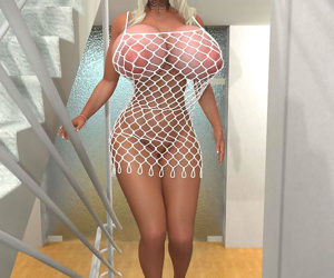 Bigtitted 3d blonde hottie posing on the stairs - part 279