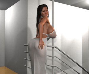 Big breasted 3d brunette in a sexy white dress posing on a stairs - part 380