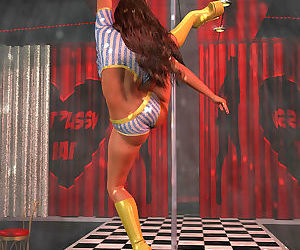 Bigtitted 3d stripper baring her goodies dancing by the pole - part 468