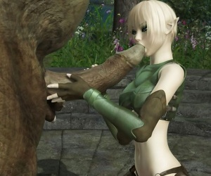 Petite elf teasing a troll with very big cock and takes facial cumshot - part 784