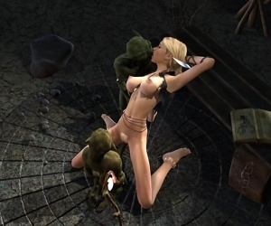 Blonde elf gets double ripped by horny goblins - part 727