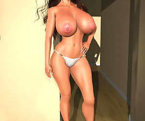 Amazingly stacked 3d babe flashing her massive globes - part 363