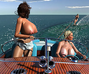 Large breasted 3d blonde nude hottie wakeboarding - part 393