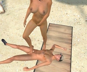 Busty bikini babe gives a footjob at the beach - part 810