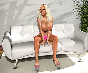 Big breasted 3d blonde hottie poses nude on sofa - part 394