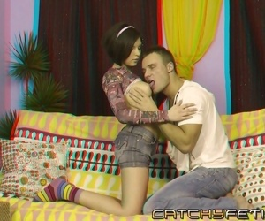 Cute chick with short hair gives blowjob relating to big cock in 3d porn fake - attaching 716