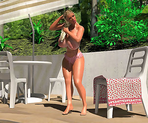 Sexy 3d blonde with enormous boobs caught topless near the pool - part 407