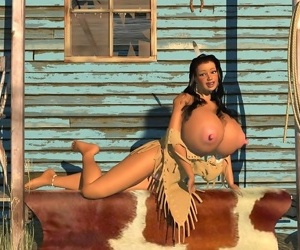 Big breasted 3d american indian babe posing outdoors - part 289
