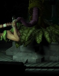 3d busty babe gets hard fucked by a plant with big tentacles - part 754