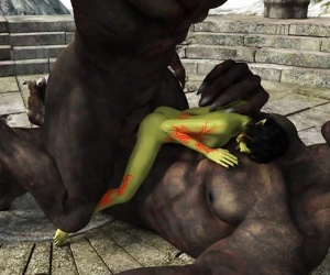 Green skin elf getting hard fucked by two wolves - part 771
