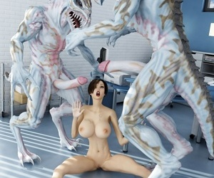 Amazing babe with big tits gets fucked hard by aliens with huge - part 517
